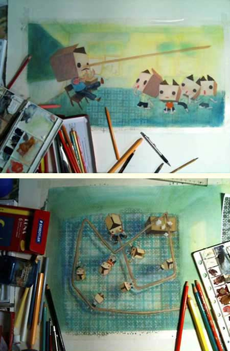 Two of C.K.Koh's illustrations in progress for 'Do Noses Grow When Lies are Told?'