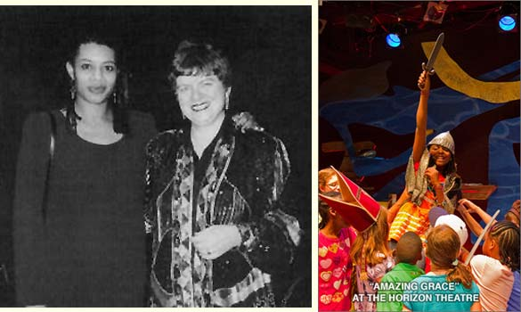 Playwright Shay Youngblood and author Mary Hoffman at the premiere of the stage play adaptation of Amazing Grace in Minneapolis, 1995; and a photo from the recent 2010 production of the play at The Horizon Theatre in Atlanta