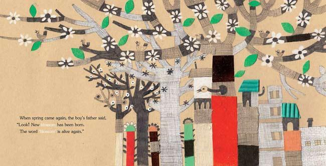 Spread from Alive Again, written by Ahmadreza Ahmadi, illustrated by Nahid Kazemi (Tiny Owl Publishing, 2015)