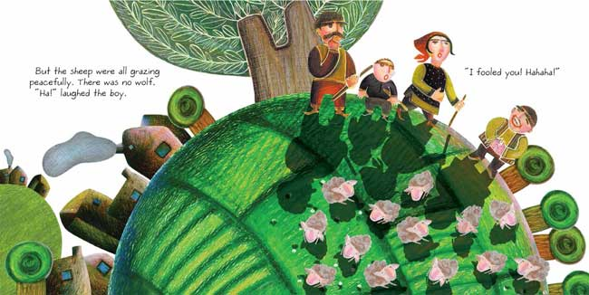 Spread from The Boy Who Cried Wolf, by Mahni Tazhibi (Tiny Owl Publishing, 2015)
