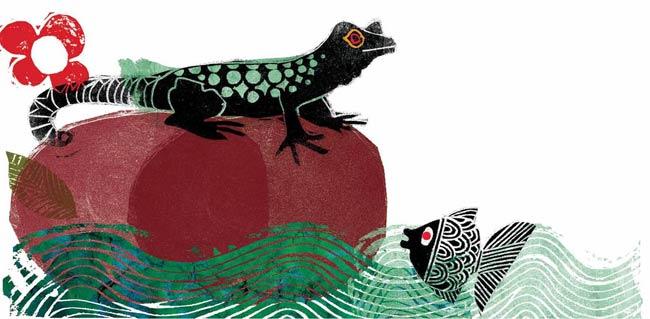 Illustration by Farshid Mesghali from The Little Black Fish, written by Samad Behrangi(Tiny Owl Publishing, 2015)