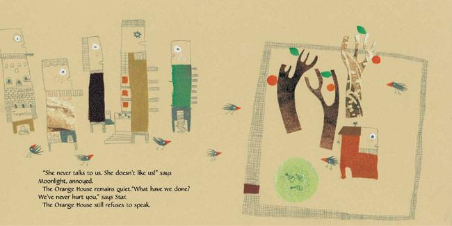 Spread from The Orange House, by Nahid Kazemi (Tiny Owl Publishing, 2016)