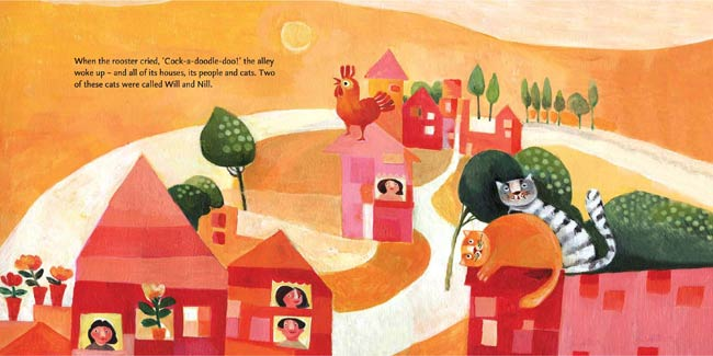 Spread from Will & Nill, written by Farhad Hasanzadeh and illustrated by Atieh Markazi (Tiny Owl Publishing, 2016)