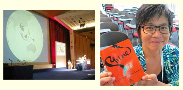 Candy Gourlay at the IBBY Congress in London (2012) and with a proof of Shine at AFCC in Singapore (2013)