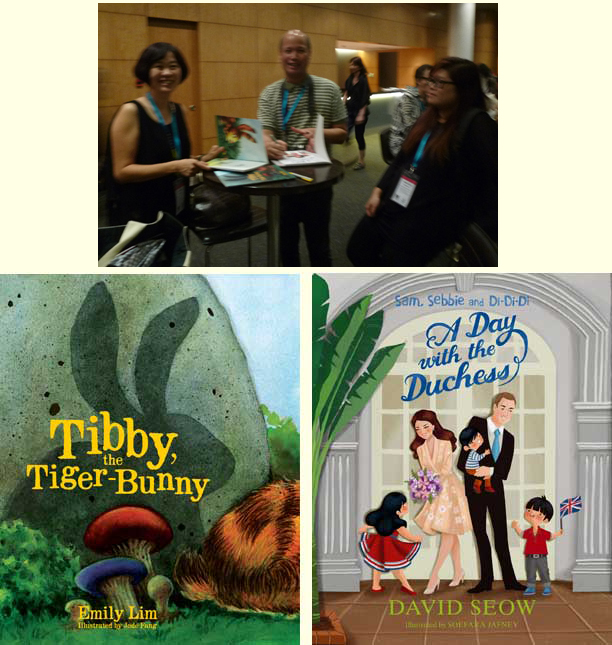 Emily Lim and David Seow signing their books Tibby the Tiger-Bunny and A Day with the Duchess at AFCC 2014