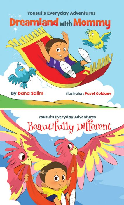 Yousuf's Everyday Adventures: 'Dreamland with Mommy' and 'Beautifully Different', written by Dana Salim, illustrated by Pavel Goldaev (DS Publishing, 2015 & 2016)